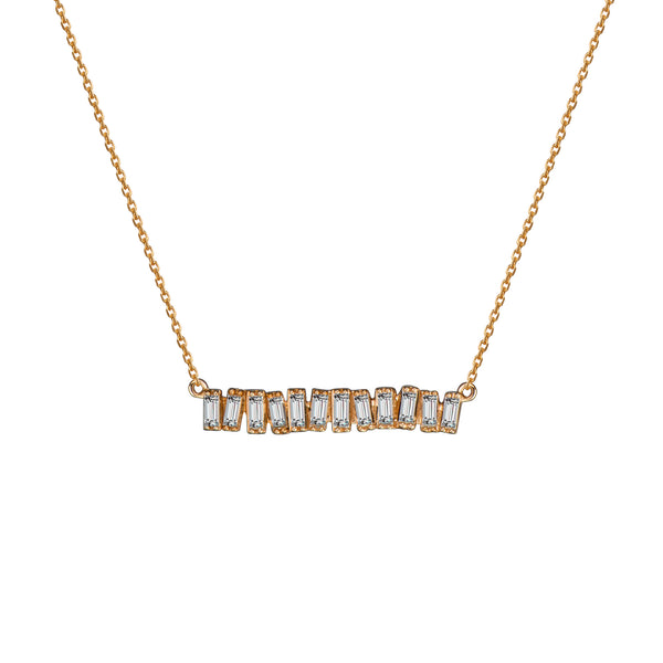 Love Diamond Mid-Bar Necklace - Rose Gold