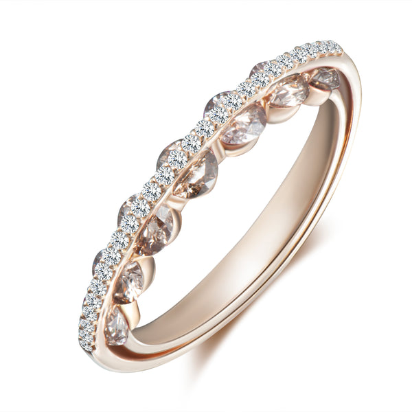 Light Diamond Ring - White and Champagne Diamonds