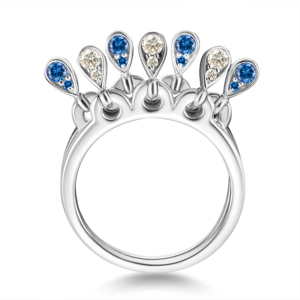 Charleston Doublet Sapphire Drops Ring - Diamonds and Blue Sapphires