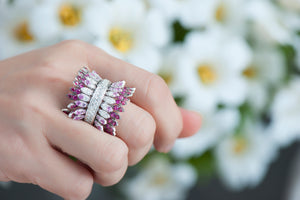 Spettinato Two Row Kinetic Ring - Diamonds, Pink Sapphires and Rubies