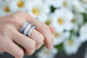 Spettinato One Row Kinetic Diamond Ring - Diamonds and Blue Sapphires