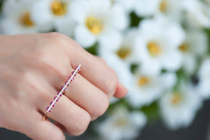 Light Dual Two Finger Ring - Diamonds and Rubies