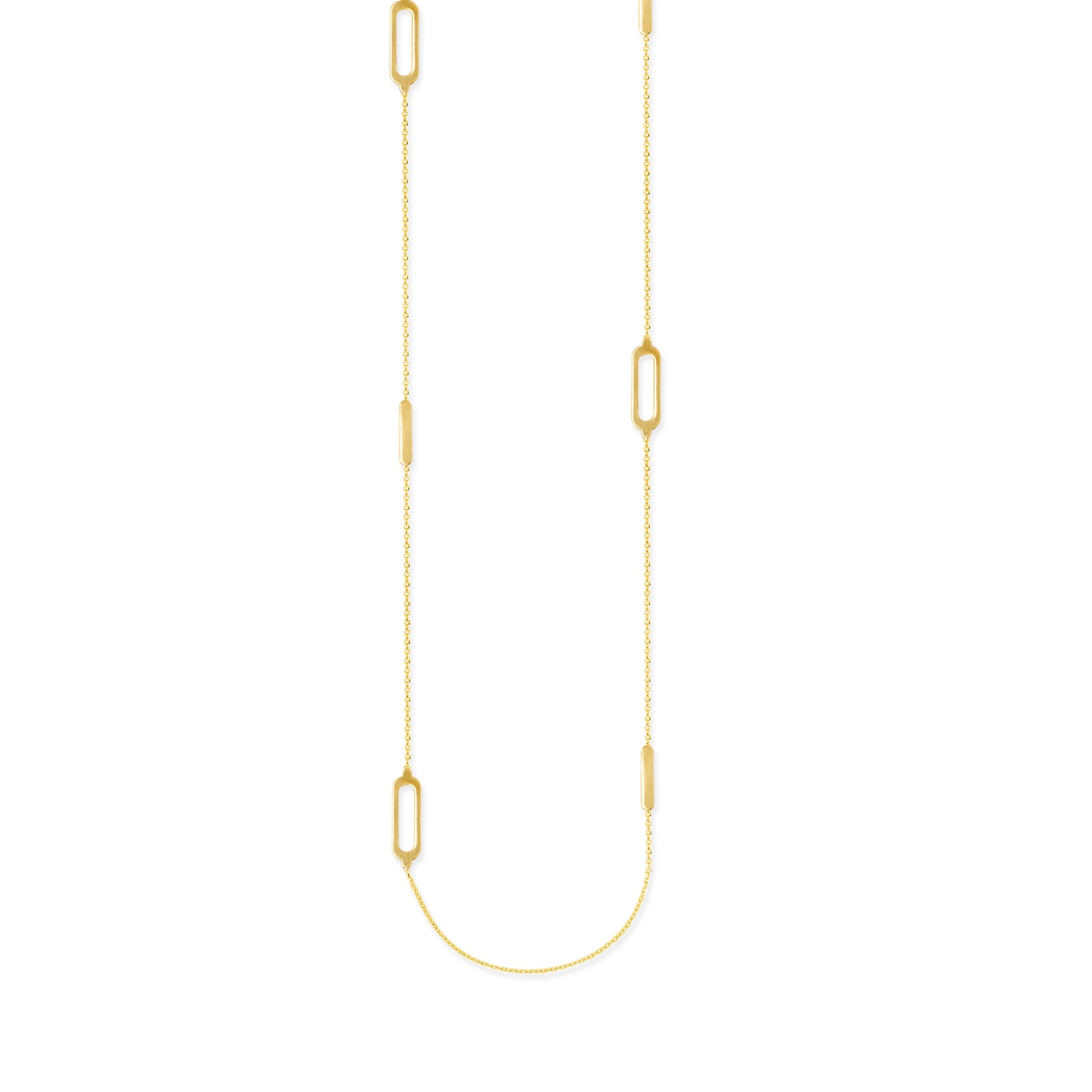 elemental products long jewels chain rectangular gold hestia aphrodite necklace