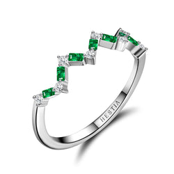 Happiness Baguette Stack Ring - Diamonds and Emeralds