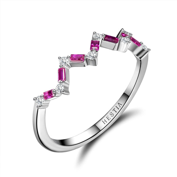Happiness Baguette Stack Ring - Diamonds and Rubies