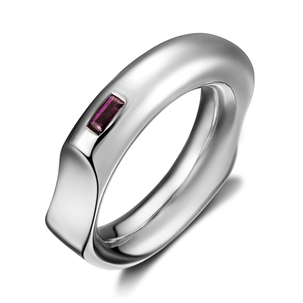 Curve Silver Ring with Red Rhodolite