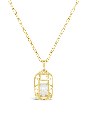 Treasure Lock Gold Pearl Pendant for Necklace