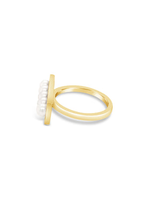 Modern Pearl Bar Ring