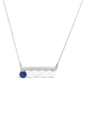 Modern Pearl Diamond and Sapphire Bar Necklace