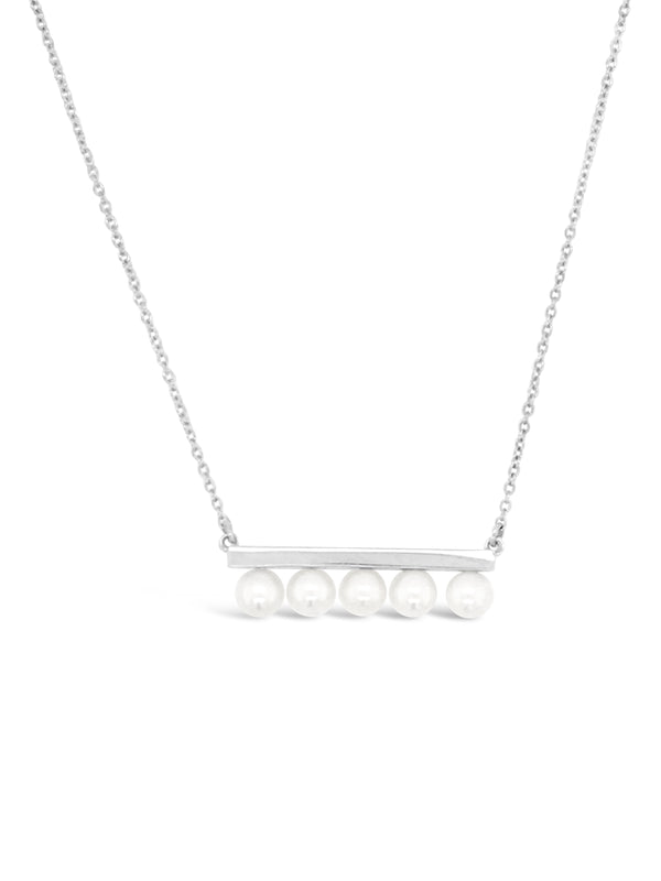 Modern Pearl Gold Bar Necklace