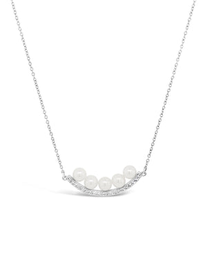 Modern Pearl Diamond Curve Bar Necklace