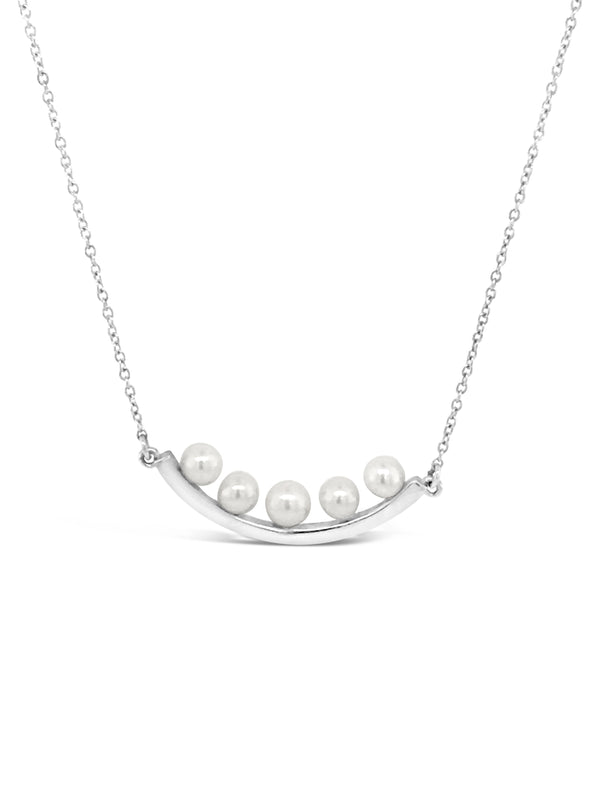 Modern Pearl Curve Bar Necklace