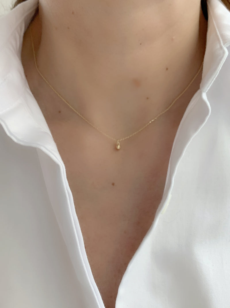 Everyday 14K Gold Round Ball Point Necklace