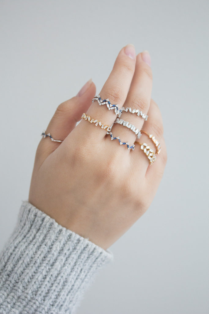 Happiness Baguette Stack Ring - Diamonds and Sapphires