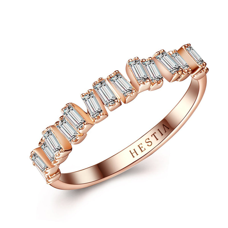 Love Diamond Bar Ring - Rose Gold