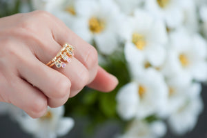 Charleston Doublet Ring - Champagne Diamonds and Pink Sapphires
