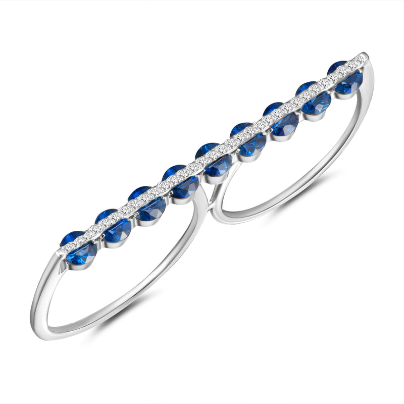 Light Dual Two Finger Ring - Diamonds and Blue Sapphires