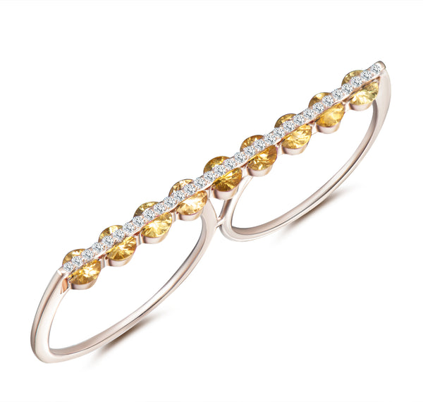 Light Dual Two Finger Ring - Diamonds and Yellow Sapphires