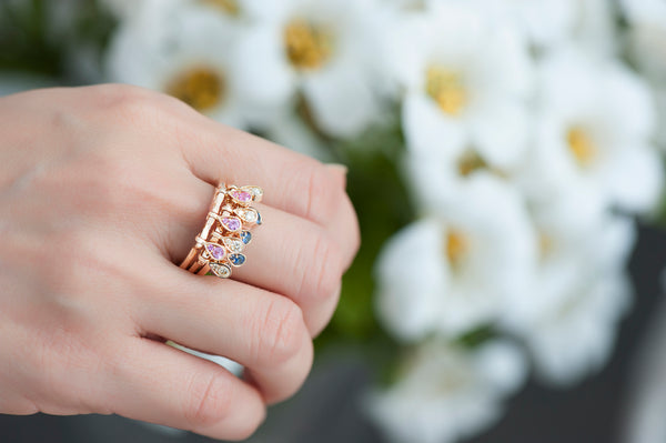 Charleston Trio Drops Ring - Sapphires and Diamonds