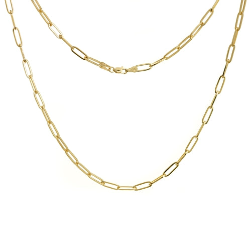 Elemental Rectangular Chain Necklace - Yellow Gold