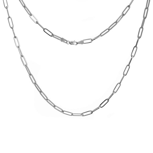 Elemental Rectangular Thick Chain Necklace - Silver