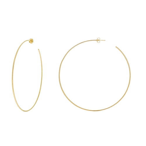 Jupiter 14K Yellow Gold Handmade Hoop Earrings