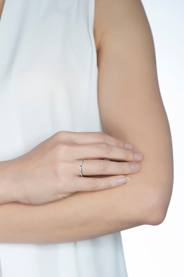 Billie Petite Thin White Gold Ring