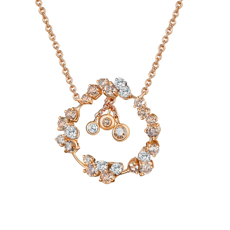 Corolla Diamond Pendant Necklace - Yellow Gold with White + Champagne Diamonds