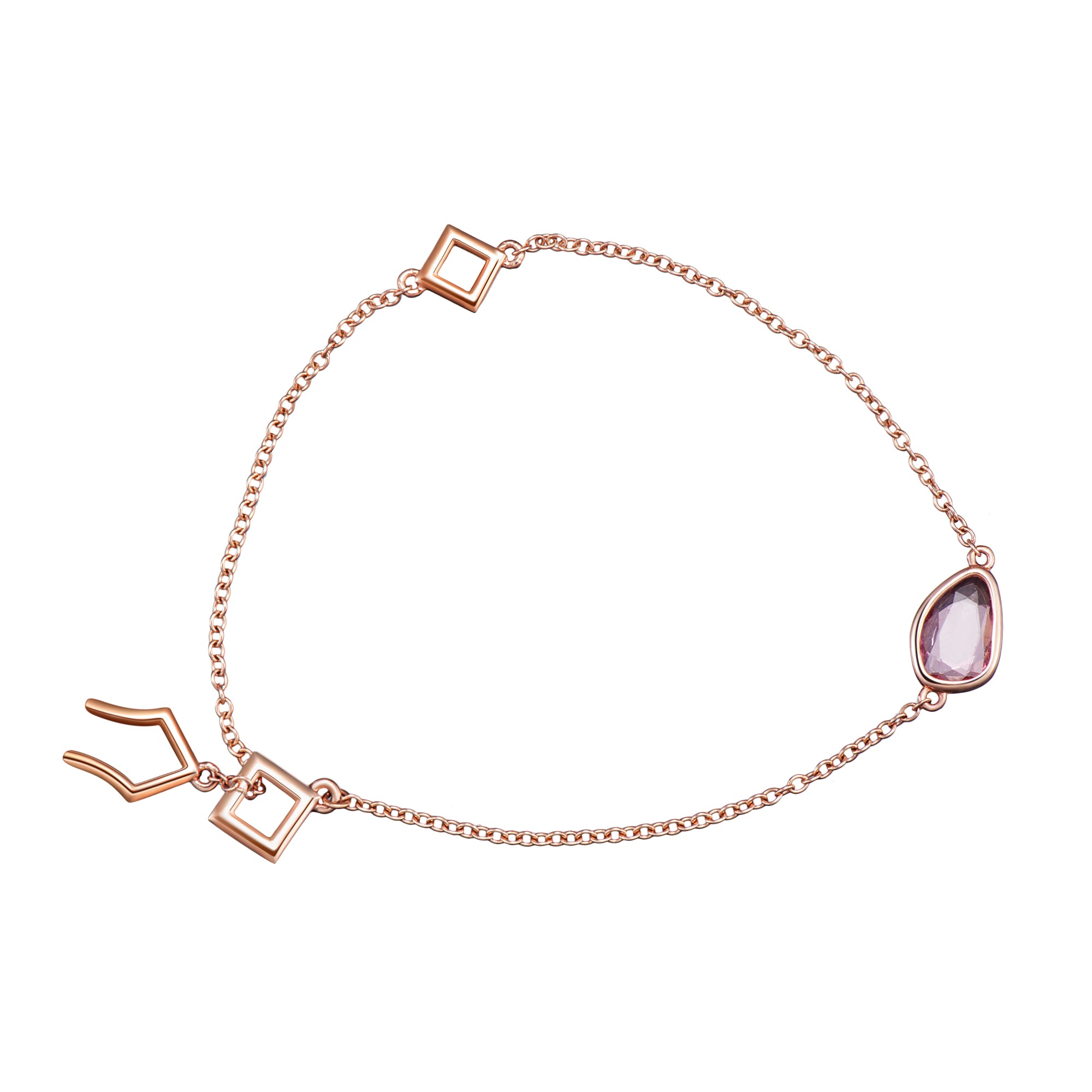 chain rose floating heart gold solid beaded r anklet