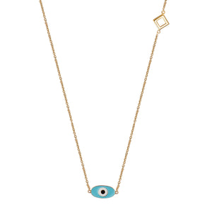 Positive Blue Eye Pendant Necklace - Gold
