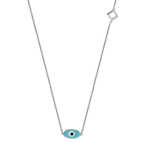 Positive Blue Eye Pendant Necklace - White Gold