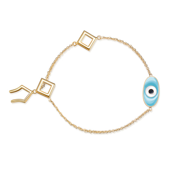 Positive Blue Eye Bracelet - Gold