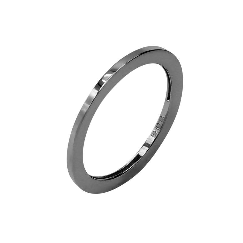 Billie Petite Thin Black Gold Ring