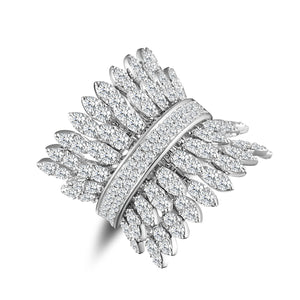 Spettinato Two Row Kinetic Ring - White Gold and Diamonds