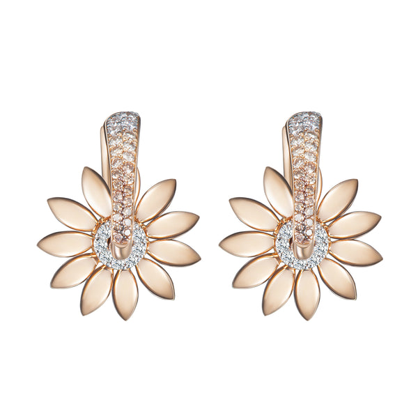 Sunflower Kinetic Diamond Earrings - Gold
