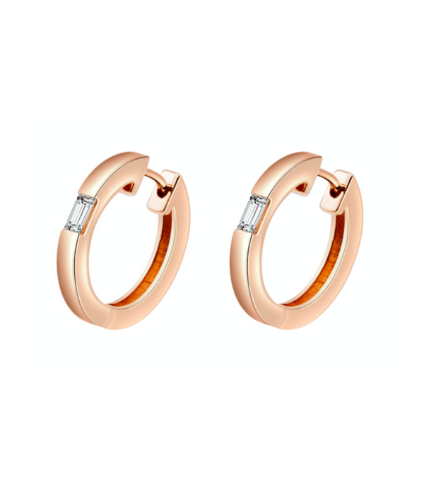 Camilla Rose Gold Diamond Huggie Earrings