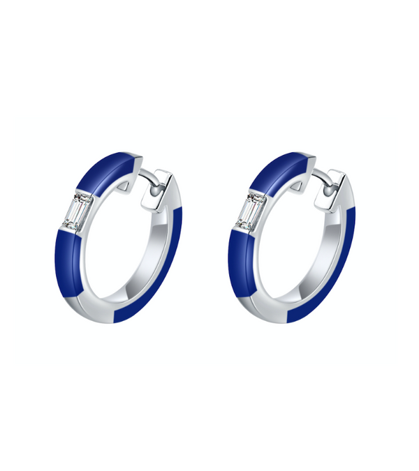 Camilla Blue Ceramic Diamond Hoop Earrings