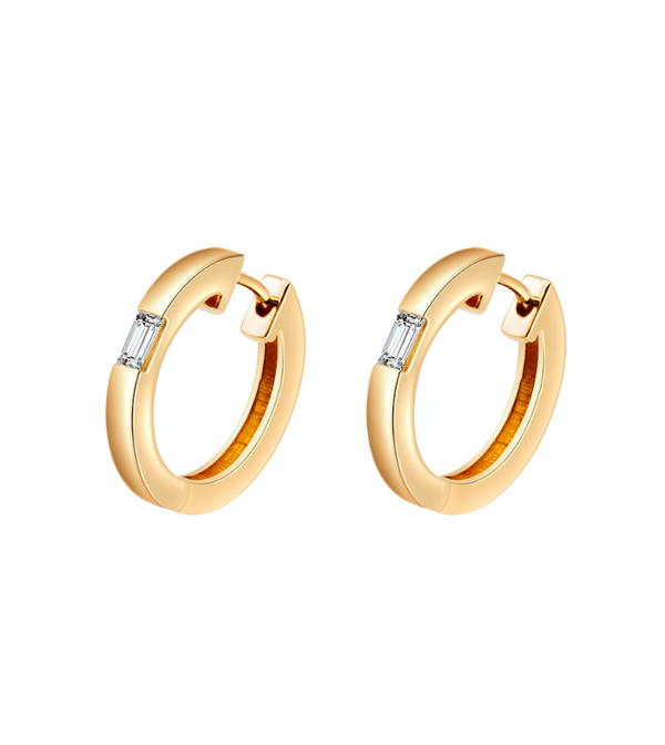 Camilla Yellow Gold Diamond Huggie Earrings