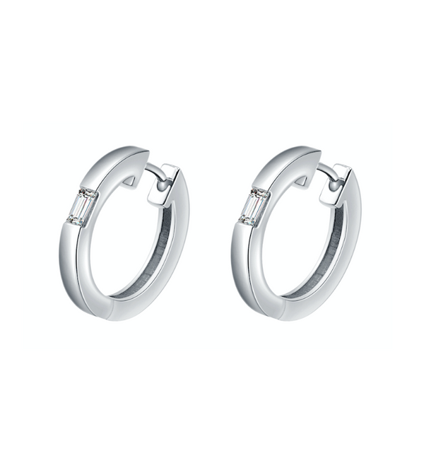 Camilla White Gold Diamond Huggie Earrings