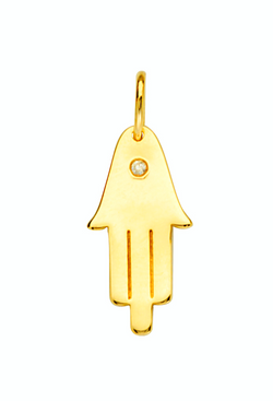 Lucky Hand Diamond and Gold Pendant for Necklace