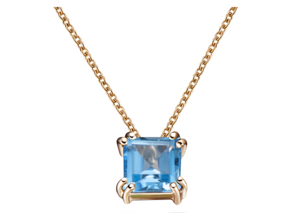 Audrey Swiss Blue Topaz Pendant Necklace