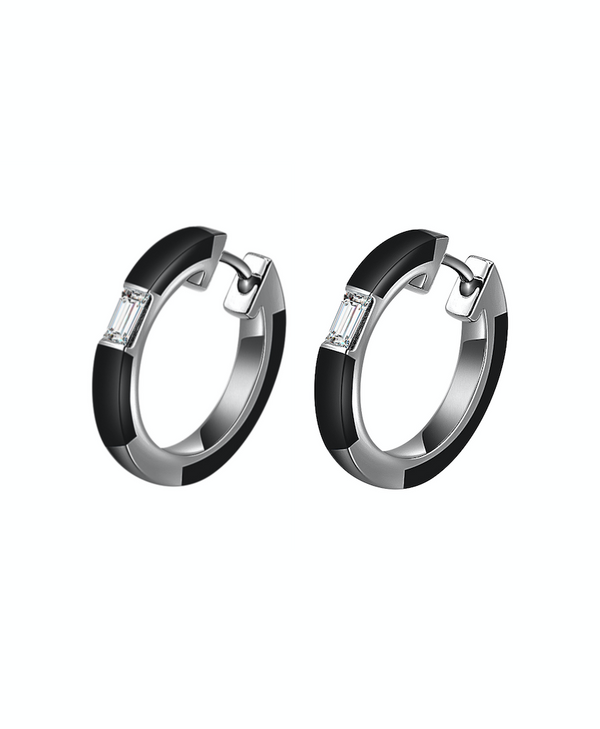 Camilla Black Ceramic Diamond Hoop Earrings