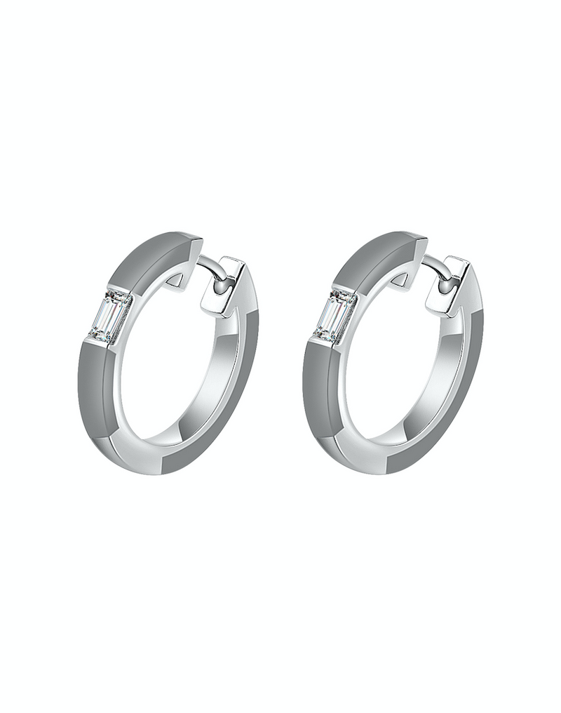 Camilla Grey Ceramic Diamond Hoop Earrings
