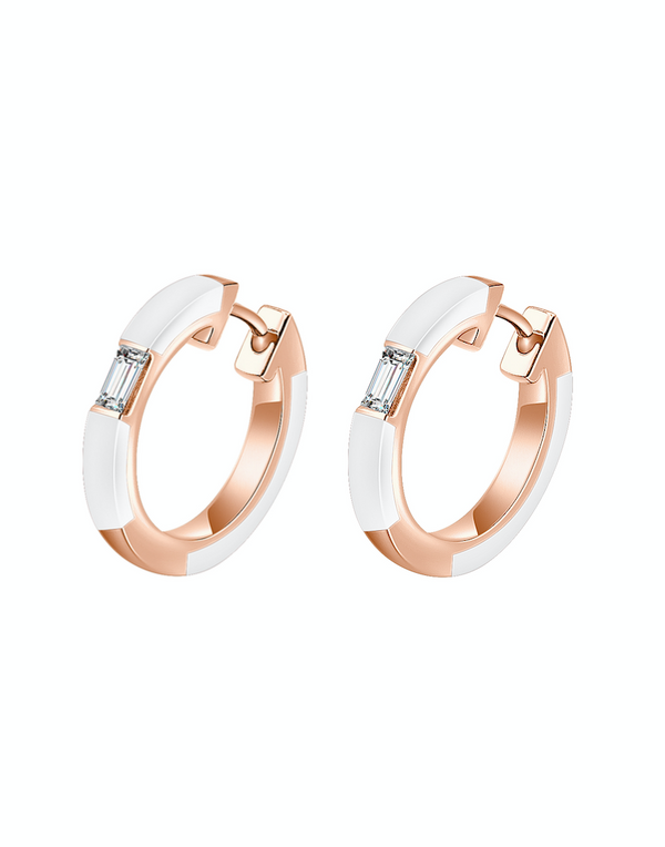 Camilla White Ceramic Diamond Hoop Earrings