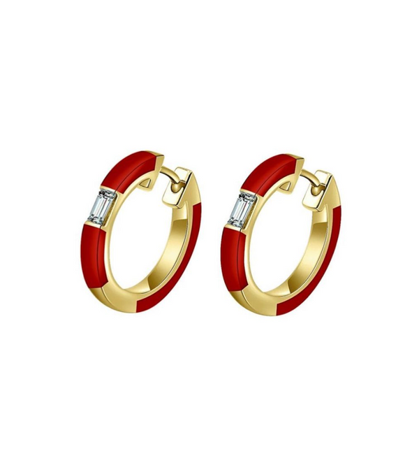 Camilla Red Ceramic Diamond Hoop Earrings