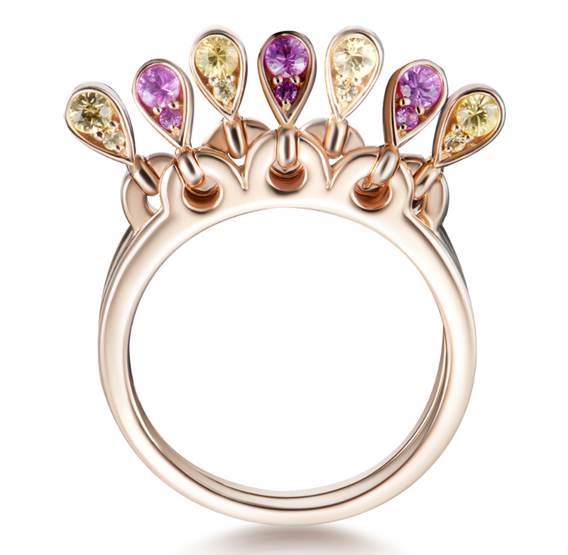 Charleston Doublet Sapphire Drops Ring - Pink and Yellow Sapphires