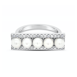 Modern Pearl Diamond Bar Ring