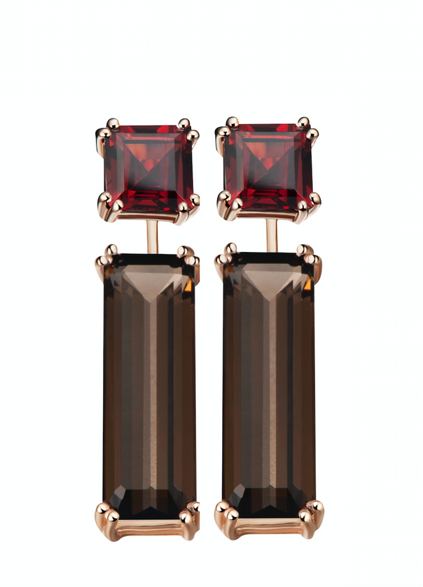 Hestia Red Garnet and Smoky Quartz Earrings