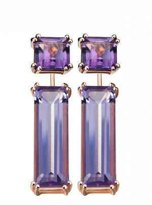 Hestia Purple Amethyst Stud and Gem Bar Earrings