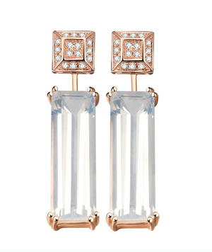 Sophia Diamond Earrings + Marilyn Sunflower Quartz Earring Extenders